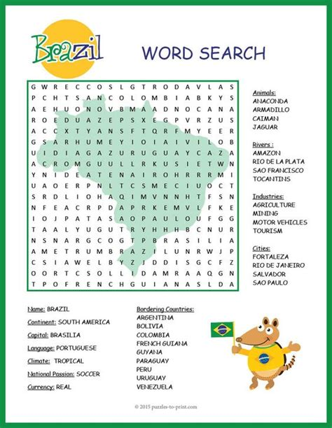 Search Brazil Brazil Activity Brazil Geography Word Search Brazil Geography Activities And Words
