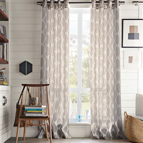 Ikat Ogee Linen Curtain Ivory Platinum Contemporary