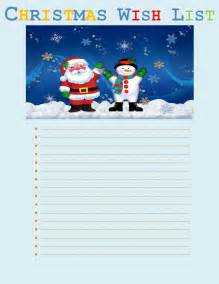 Printable Christmas Wish List Template Christmas Wish List Template Free Printable Word Templates