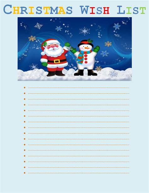 christmas wish list template free printable word templates