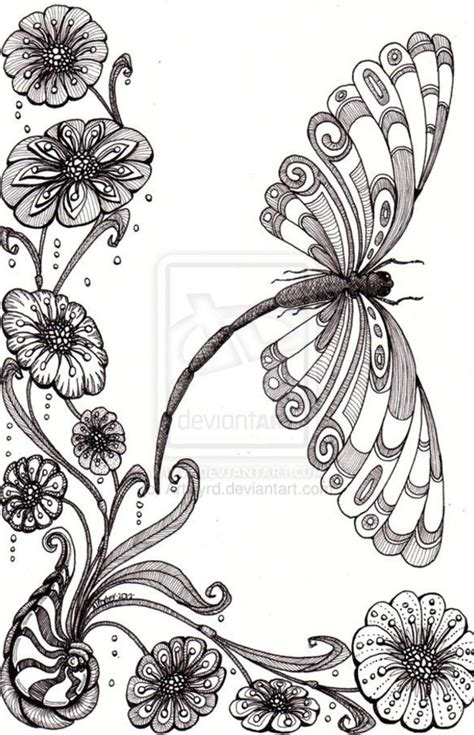 zentangle pattern nymph free zentangle how to patterns dragonfly away 25aug12 by
