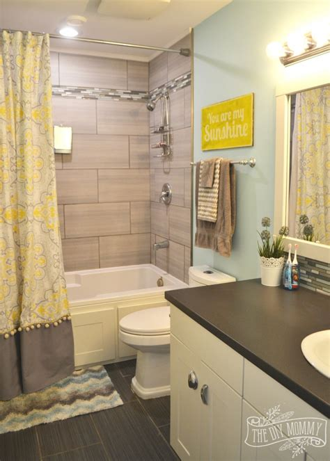 yellow and grey bathroom decorating ideas kids bathroom reveal and some great tips for post reno clean up the diy mommy