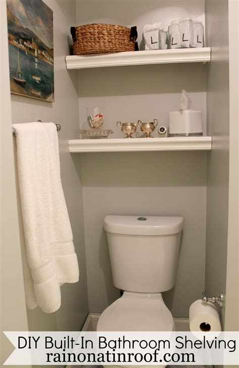 shelves in bathroom built in bathroom shelving diy for 25 or less