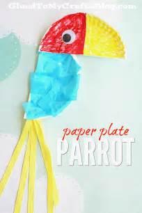 paper plate parrot kid craft glued crafts