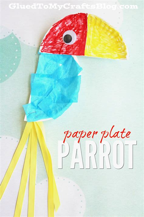 Paper And Craft - paper plate parrot kid craft glued to my crafts
