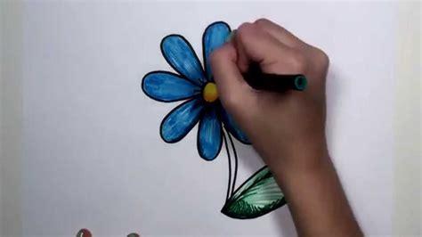 draw flower step  step blue daisy drawing