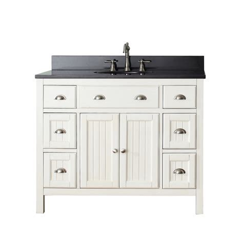 42 Inch Single Sink Bathroom Vanity in French White