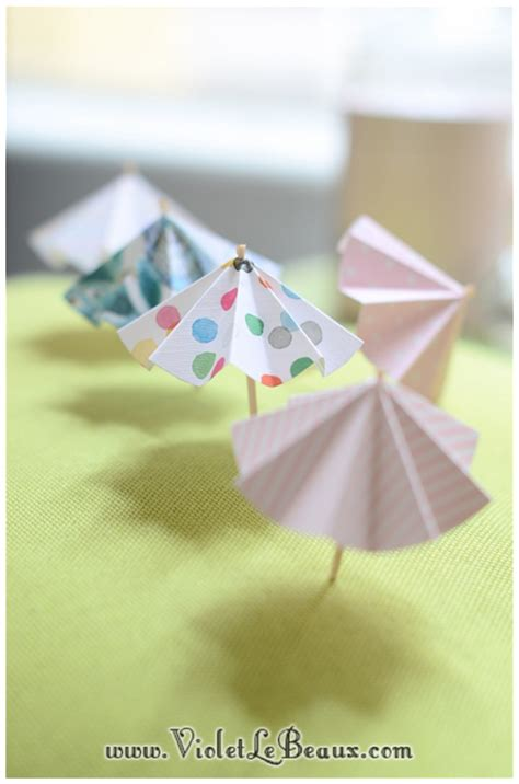How To Make Small Umbrella With Paper - how to make paper drink umbrellas violet lebeaux