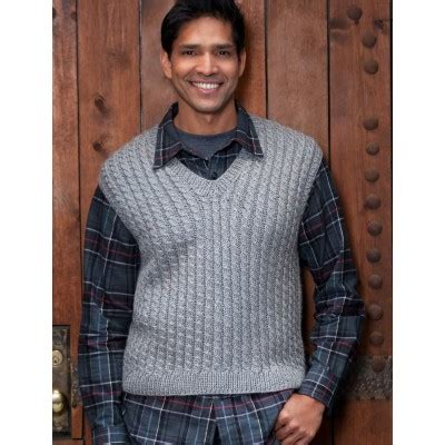 triangle pattern vest caron dad s cabled vest free knitting pattern knitting bee