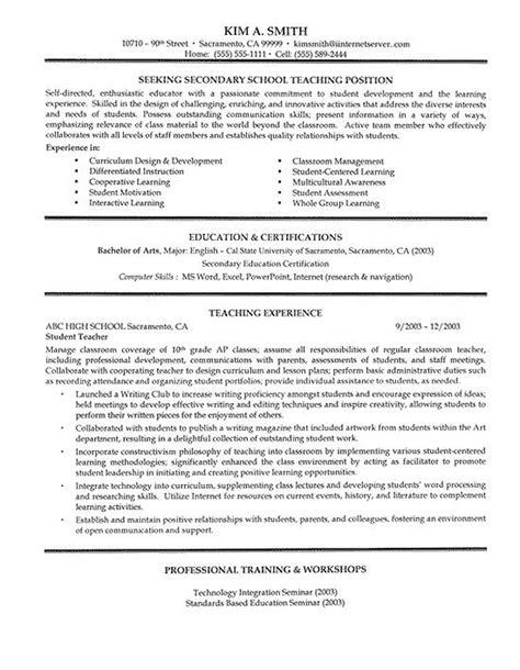 secondary school teacher resume exle resume exles