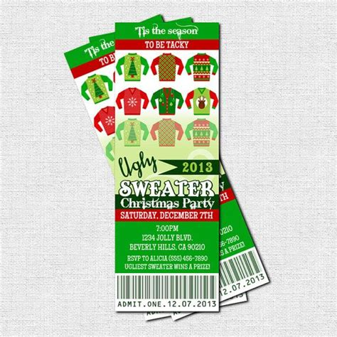 printable tickets for christmas party ugly sweater ticket invitations christmas holiday party