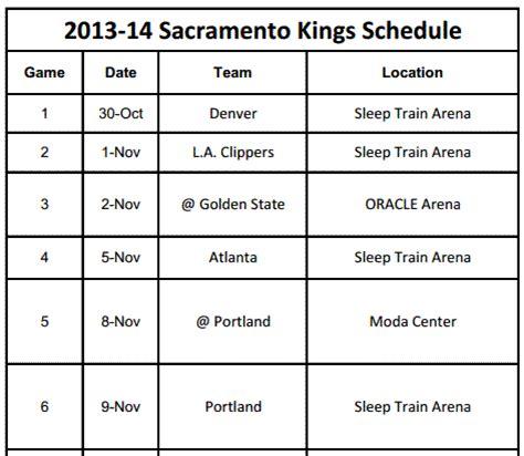 printable kings schedule download print 2013 14 sacramento kings schedule