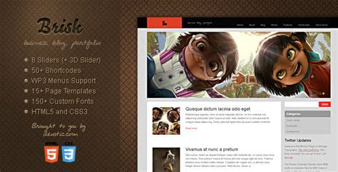 themeforest blog brisk themeforest business blog portfolio wp theme