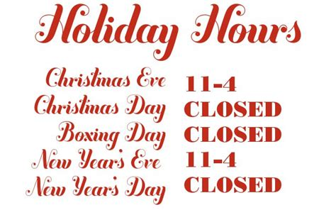 russet and empire holiday hours