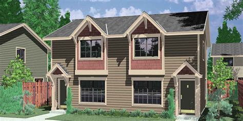 narrow lot multi family house plans craftsman style duplex with boxed windows compact floor plan