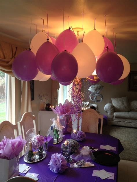 mini engagement party purple white silver decor