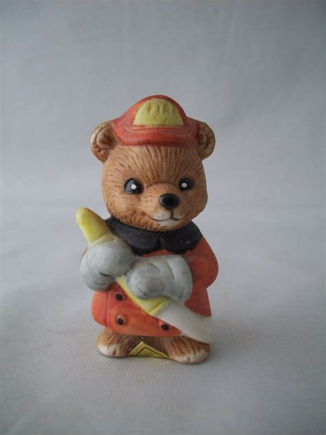cute figurines ceramic fireman bear homco figurine cute look