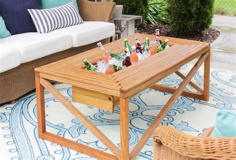 outdoor coffee table with beverage cooler buildsomething