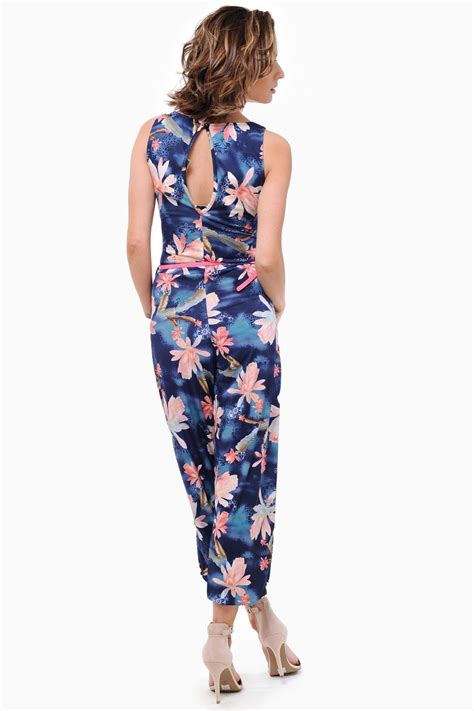 Tropical Print Jumpsuit chana tropical print jumpsuit iclothing