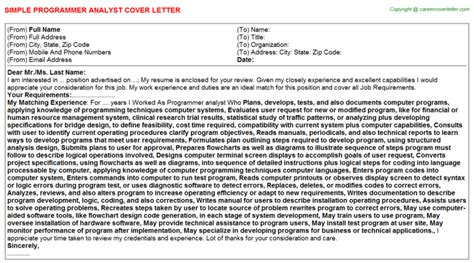 Analyst Programmer Cover Letter by Programmer Analyst Cover Letters