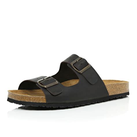 leather buckle sandals lyst river island brown leather buckle