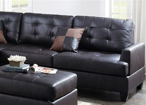 Faux Leather Sectional Sofa by F6855 Sectional Sofa And Ottoman Set In Espresso Faux Leather