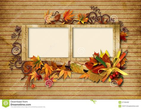 Bow Window Prices vintage photo frame with autumn leaves and pencils stock
