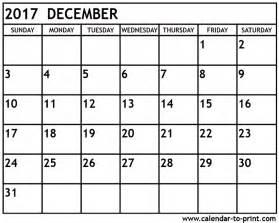 Calendar December 2017 December 2017 Calendar Printable