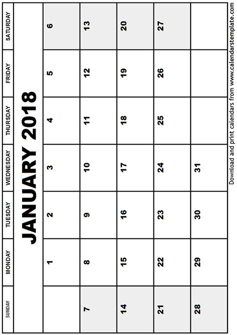 printable january 2018 calendar january 2018 calendar template
