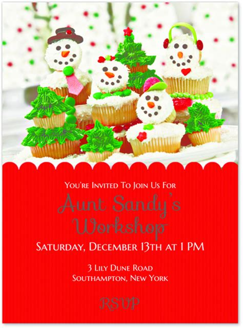 Themes For Decorating Christmas Trees - aunt sandy s cupcake workshop party evite