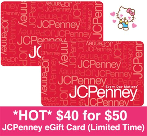 Jcpenney Gift Card Deal - hot only 40 for 50 jcpenney egift card more gift card deals
