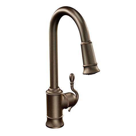 moen rubbed bronze kitchen faucet moen woodmere single handle pull sprayer kitchen faucet with reflex in rubbed bronze