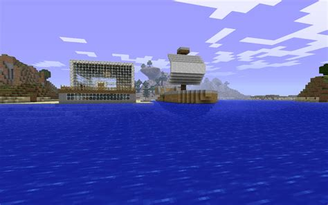 big boat in minecraft beach house and a big boat minecraft project