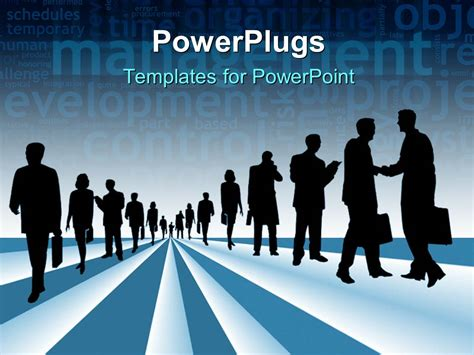 powerpoint template silhouettes of business people with