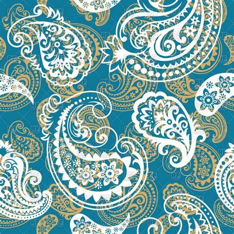 Blue Paisley pin seamless paisley pattern brown background abstract on