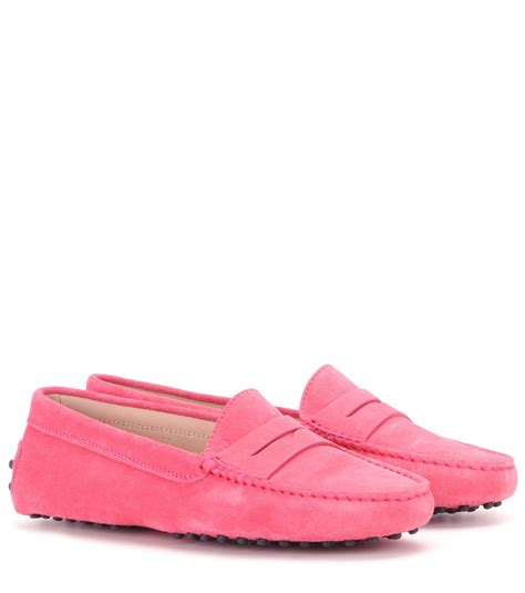pink loafers lyst tod s gommini suede loafers in pink