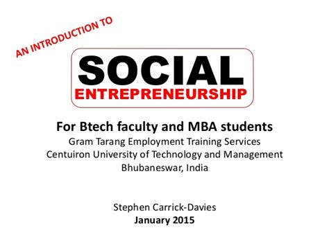 Mba Social Entrepreneurship Europe by An Introduction To Social Entrepreneurship Workshop