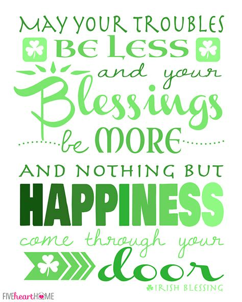 St Day Birthday Quotes St Patrick S Day Free Printable Irish Blessing