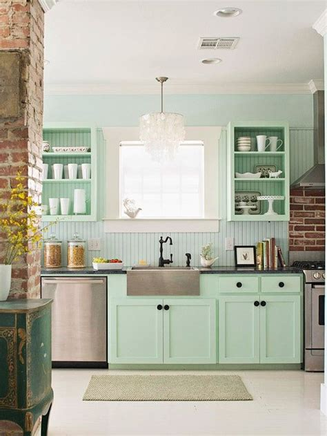 Mint Green Kitchen Curtains Decorating Green Vintage Kitchen Design With Green Shaker Kitchen