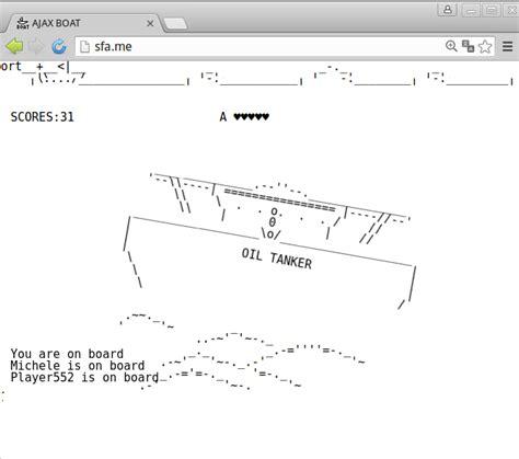ascii boat ajax boat multiplayer ascii art game http sfa me