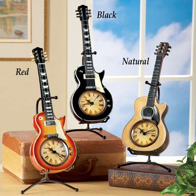tabletop guitar clock w stand from collections etc