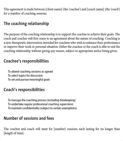 Coaching Contract Template 7 Free Word Pdf Documents Download Free Premium Templates Coaching Contract Template