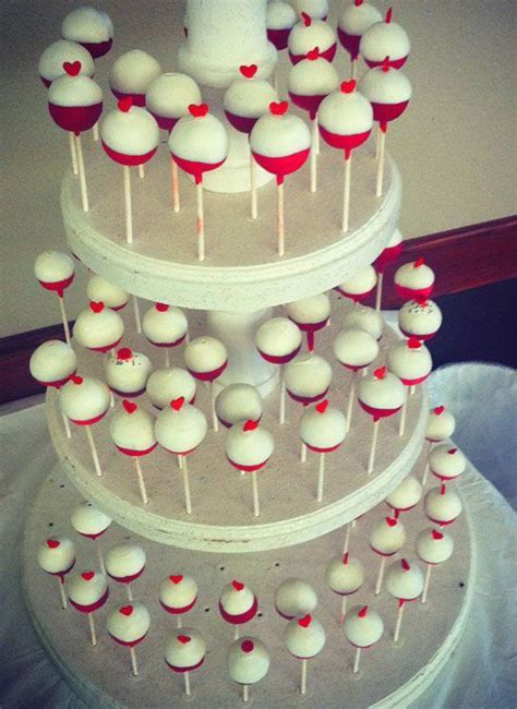 Bobber Heart Cake Pops for a #fishing themed #wedding by #