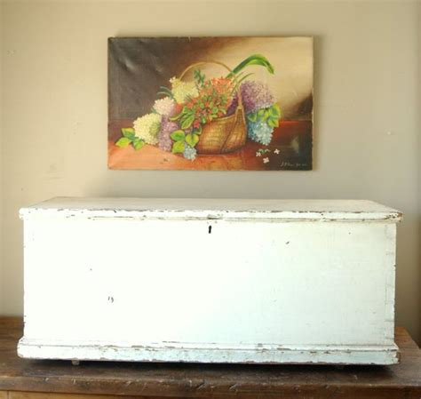 large antique primitive shabby chic white blanket box