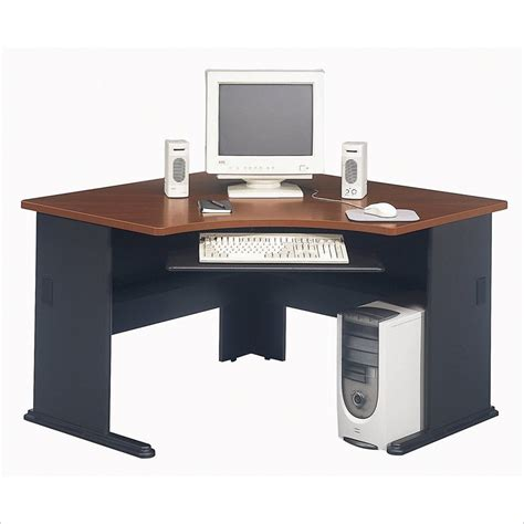 pc desk corner computer desk with hutch cherry