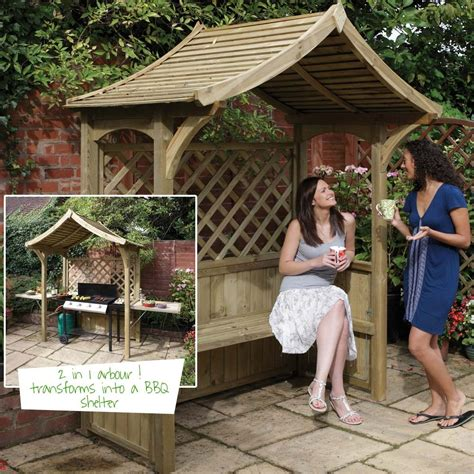 seated bbq party garden arbour bench seat