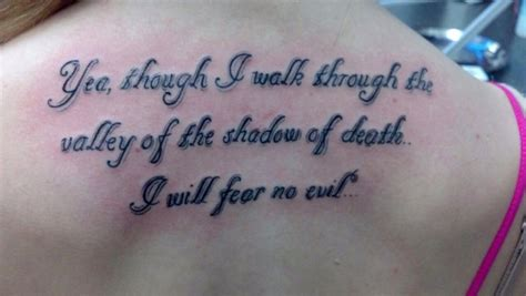 valley of the shadow of death tattoo bible verse quot yea though i walk through the valley