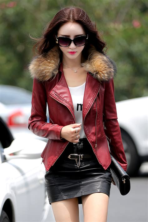 Fashion Collar 1 leather coat real fur collar fashion motocycle style suede jacket clothes plus