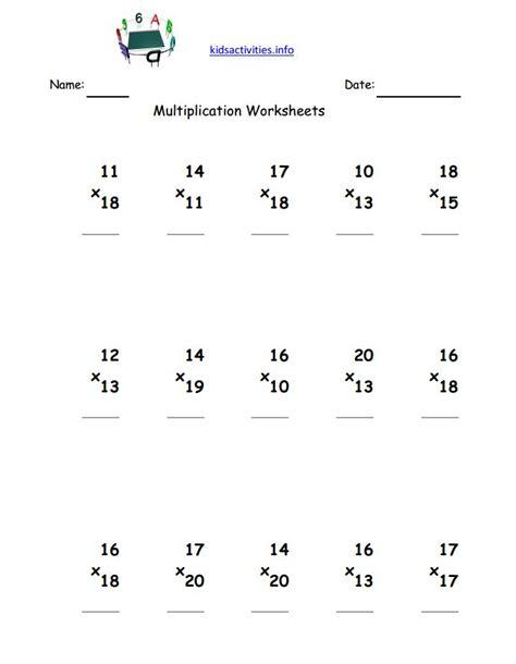 3rd Grade Math Worksheets Multiplication