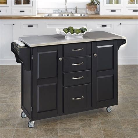 stainless steel kitchen island cart in black 9100 1042